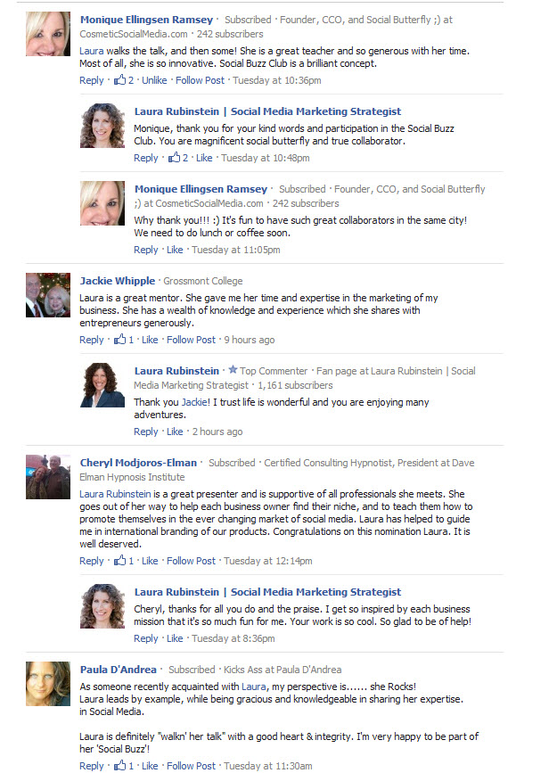 #SmallBizInfluencer Comments about Laura Rubinstein