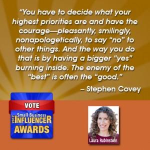 Stephen Covey Business Wisdom priorities  Laura Rubinstein Laura Rubenstein