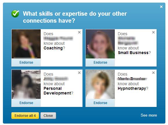 Endorse people fast for 1 random skill on linkedin